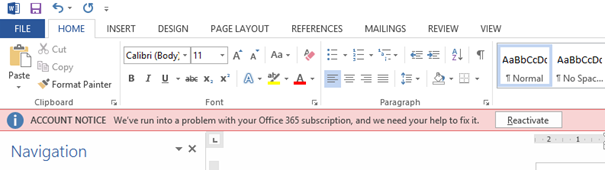 We've run into a problem with your Office 365 subscription | Jaap