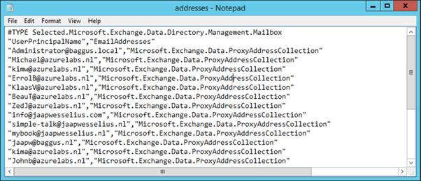 Export Email Addresses in Exchange 2013 | Jaap Wesselius