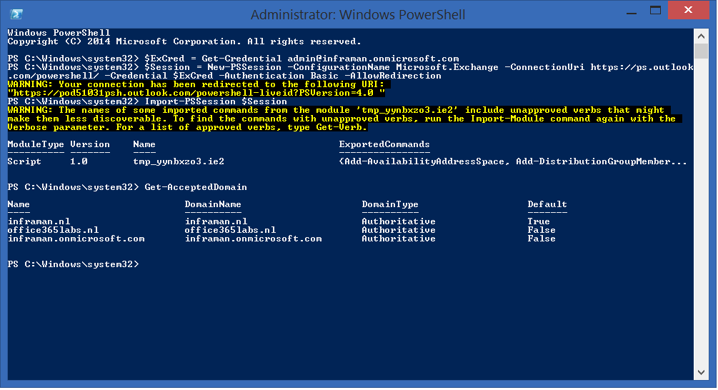Manage Domains in Office 365 using PowerShell | Jaap Wesselius