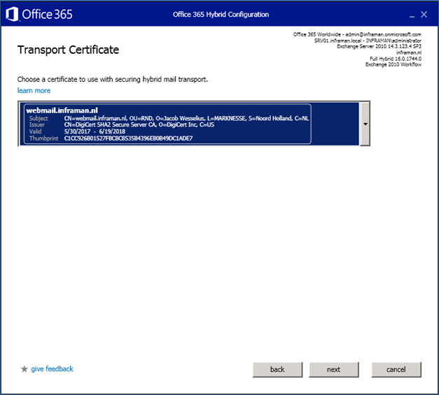 Exchange 2010 hybrid, SMTP, SSL Certificates and Subject