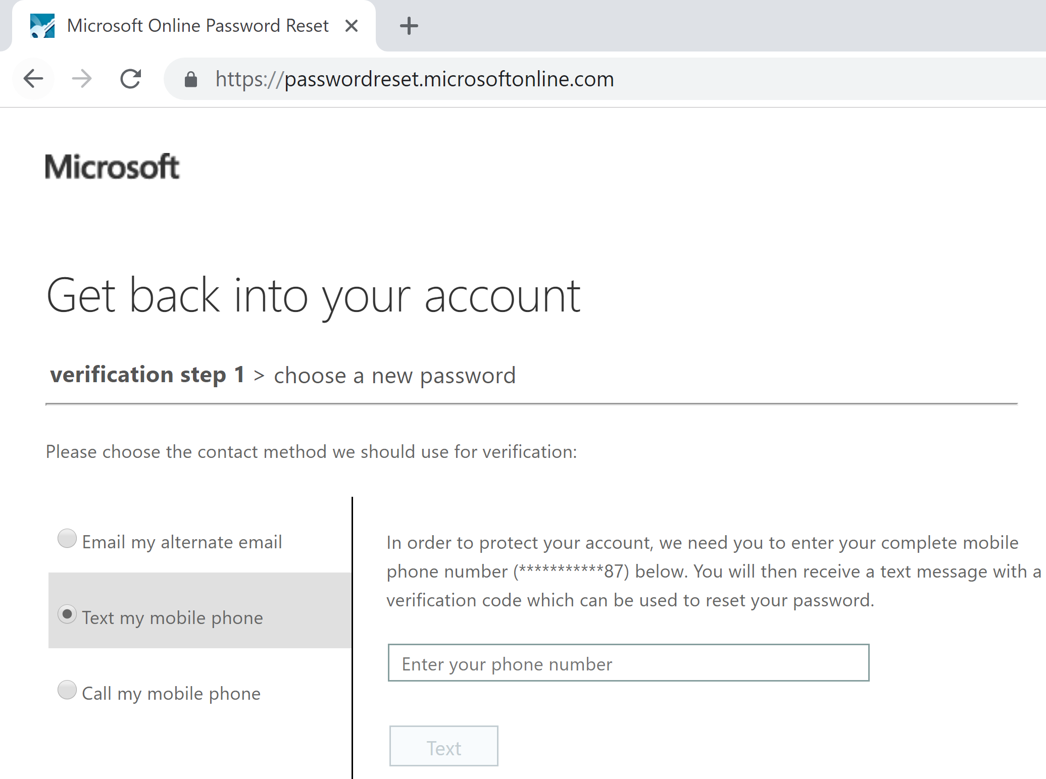 microsoft account password reset code text message