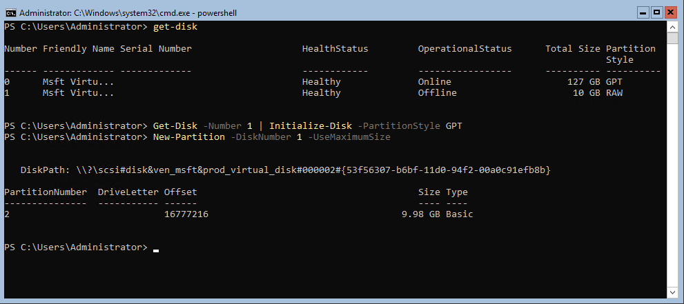 Initialize-Disk