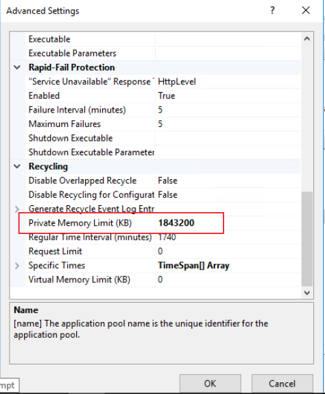 WSUS App Pool advanced settings