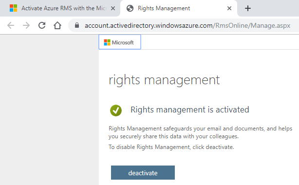 Azure Rights Management is activated