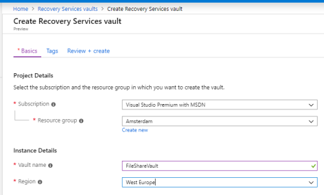 Create Recovery Services Vault