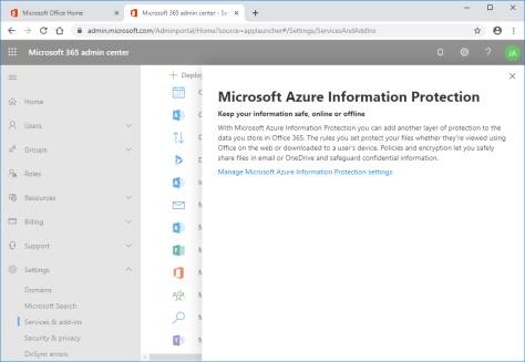 Enable Azure information Protection