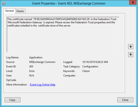 EventID 403 Certificate is expired