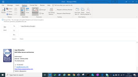 Outlook Encrypt Only