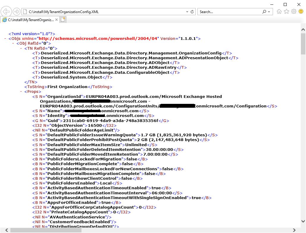 TenantOrganizationConfig XML