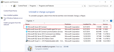 Azure AD Connect 1.4.18.0