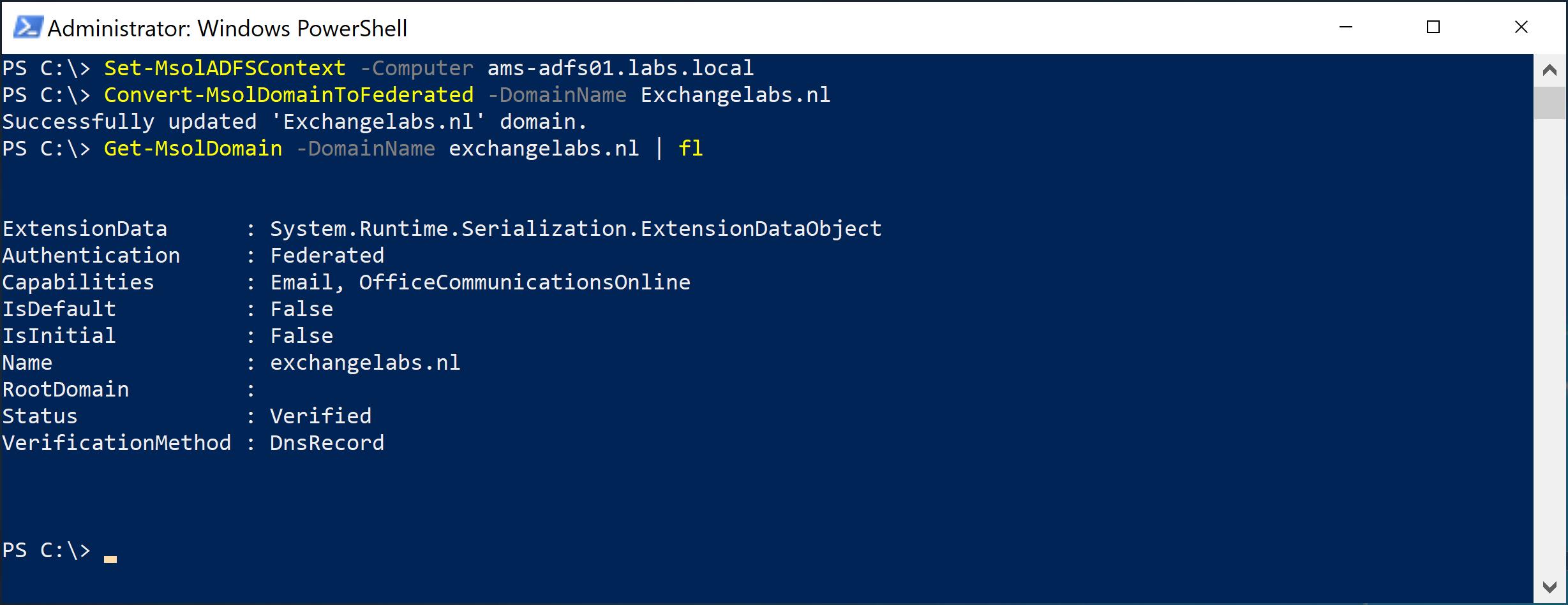 Set-MsolAdfsContext Exchangelabs