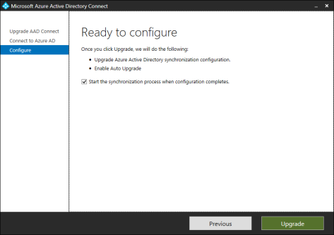 Start the synchronization process when configuration completes