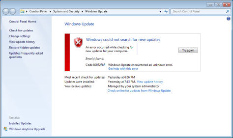 Windows could not search for new updates
