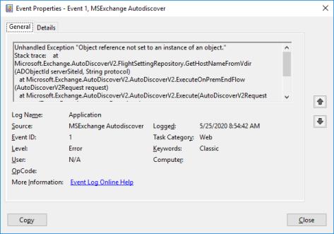 Event ID 1 MSExchange Autodiscover