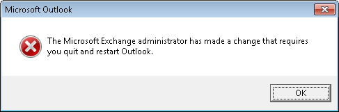 The Microsoft Exchange Administrator has made a change